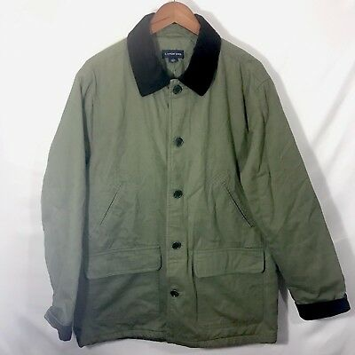 Lands' End Barn Jacket Men's Large 42-44 Olive Green Quilted Lining Classic NWOT