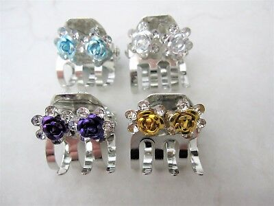 Tiny mini silver crystal rose flower metal hair claw clip with crystals