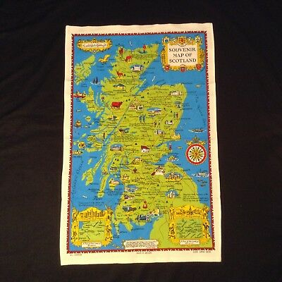 NWOT Map & Scenes SOUVENIR TEA TOWEL by Glen Appin of SCOTLAND 30.25x19.25""