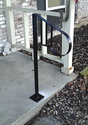 NEW Handrail Wrought Iron 1-2 steps Steel Grab Rail Single Post Porch Stair