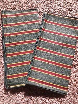 Longaberger Fabric Napkins - Imperial Stripe set of 2 New Green & paisley