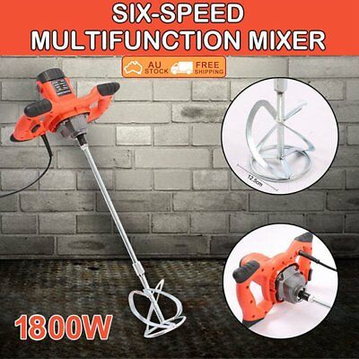 Drywall Mortar Mixer 1800W Plaster Cement Tile Adhesive Render Paint Six-speed