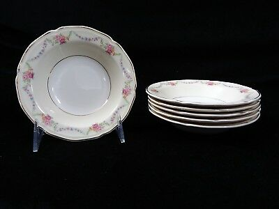 Vintage Knowles James Floral Festoon Pattern Set of 6 Berry Bowls FREE SHIPPING!