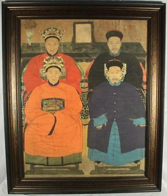"Framed Chinese Ancestor Ancestry Portrait Paper Scroll Painting 53"" x 44"""
