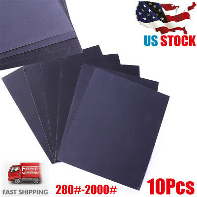 10PC Wet and Dry Sandpaper COMBO 280/400/1000/1500/2000 Grit Waterproof Paper US