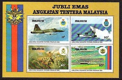 1983 MALAYSIA 50th ANNIVERSARY ARMED FORCES minisheet SG271 mint unhinged