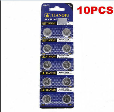Useful 10Pcs AG13 LR44 SR44 L1154 357 A76 1.5V Alkaline Coin Button Cell Battery