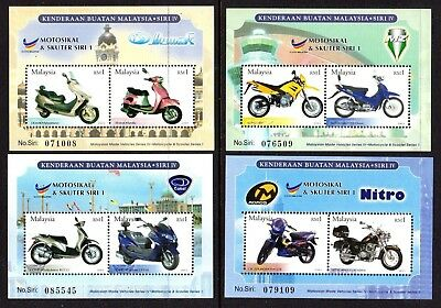 2003 MALAYSIA MOTORCYCLES & SCOOTERS 4 minisheets SG1162 mint unhinged