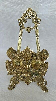 Antique Brass Stand Plate Holder Retro Vintage Collectable Ornate Marked B