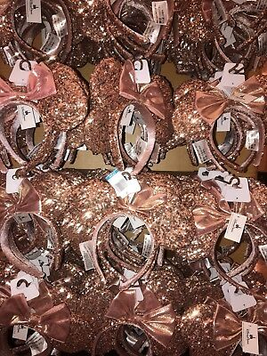 ROSE GOLD Ears Disney Parks Champagne Minnie Mouse Bow Sequins Ears Headband New