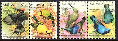 2002 MALAYSIA BIRDS joint issue Singapore pairs SG1080-1083 mint unhinged