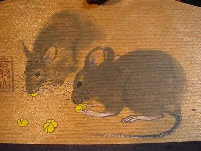 Japanese Prayer Board Ema Sumie Drawing of for the Zodian Animal Year of Rats