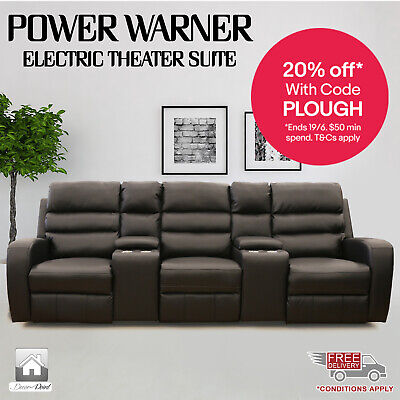New Luxury Leather Air 3 Seater Power Warner Electric Recliners, Brown Color