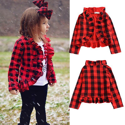 Baby Kids Girls Spring Checked Coat Long Sleeve Tops Jacket Clothes Tracksuit