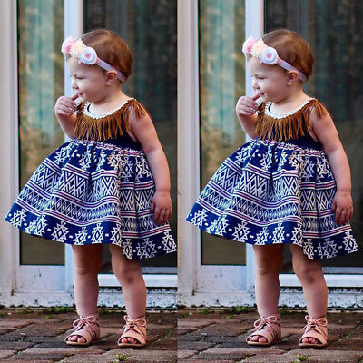 1-5T Toddler Kids Baby Girls Tassel Lace Dress Pageant Princess Dresses Clothes