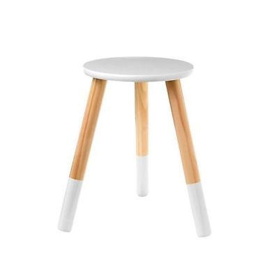Kids Children Wooden Stool Seat Round Furniture  Bedside Table White Dipped