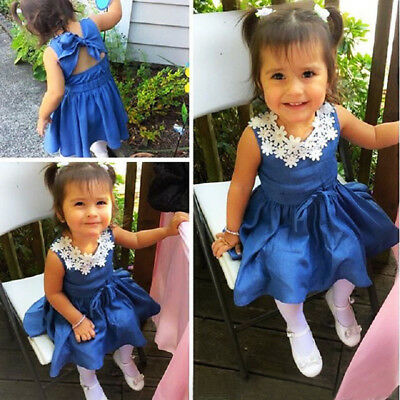 Cute Toddler Kids Baby Girl Lace Floral Denim Princess Party Dress Sundress 1-6Y