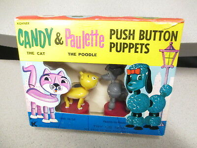 Kohner push button puppet MIB 1960s Candy Cat Paulette Poodle playset #2