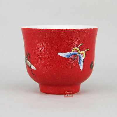 """""""Insects""""Chinese Jingdezhen Handmade Pa Hua Famille-rose Porcelain Tea Cup 100cc"""
