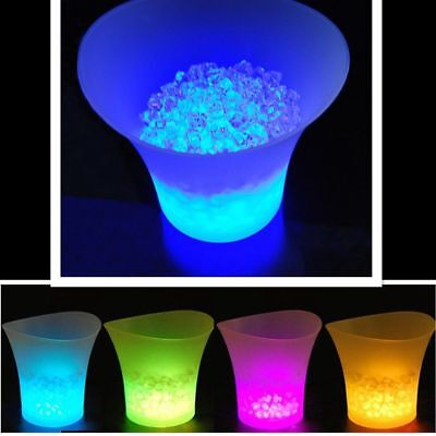 Ice Bucket Champagne Wine Drinks Cooler LED Colour Changing Retro Party Bar UK--