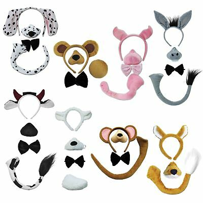 Animal Accessory Set WITH SOUND Ears Headband Tail Fancy Dress Book Week Costume