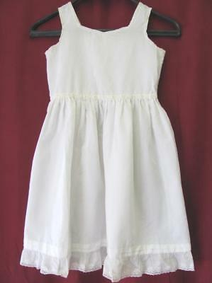19C ANTIQUE CHILD COTTON & LACE DRESS w/MOTHER OF PEARL BUTTONS
