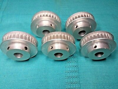 "5 Small T5 (5 mm / 0.197 P) Timing Belt Pulleys 30 Tooth 1/2"" Bore 1.886"" PD"