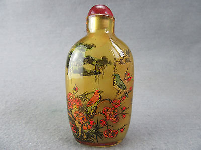 Exquisite Chinese painting Ching glass snuff bottle L36