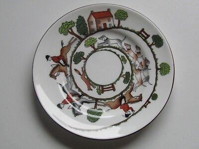 "Crown Staffordshire England china 6.5""/17cm 2 side plate saucers Hunting Scene"
