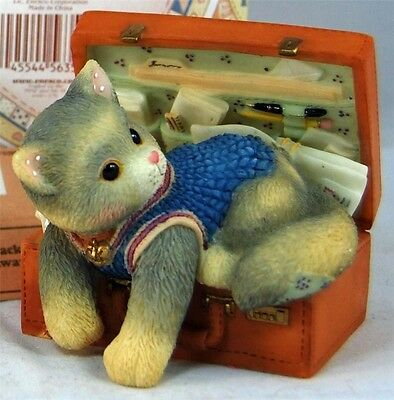 MIB Enesco Calico Kittens A HUG A DAY PACKS YOUR TROUBLES AWAY Cat in Brief Case