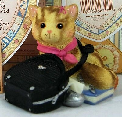 MIB Enesco Calico Kittens MY PURR-SUIT OF HAPPINESS LED TO YOU Cat n Black Purse
