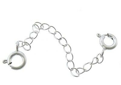 """SAFETY CHAIN-2.5""""-63mm- 925 Sterling silver-Double clasp extender-2 Spring Rings"""