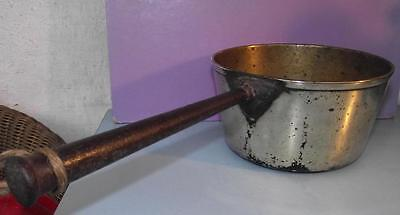 Antique English Victorian Cast Brass Sauce Pan Iron Handle 1.5pt Cap.