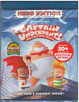 CAPTAIN UNDERPANTS FIRST EPIC MOVIE (Bluray/DVD, Digital Copy) NEW