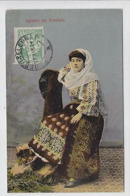 AK Romania, Frau in Tracht, 1924