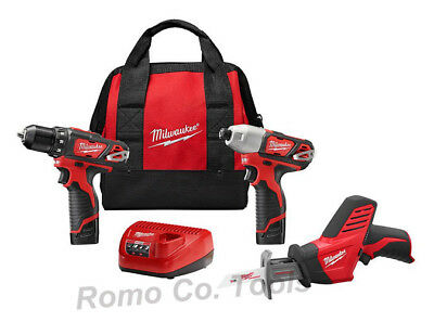 Milwaukee M12 3 Tool Combo Kit - Model # 2498-23 (New In Retail Packaging)