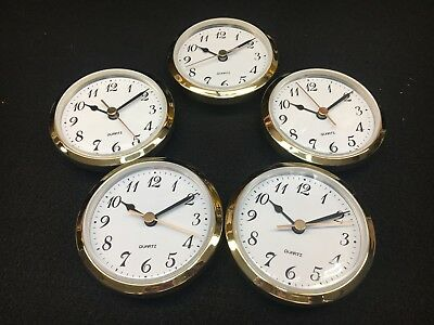 "Quartz Battery Fit-Up Insert Clock Movement set of 5 fits a 3"" Hole 3 1/2 Face"