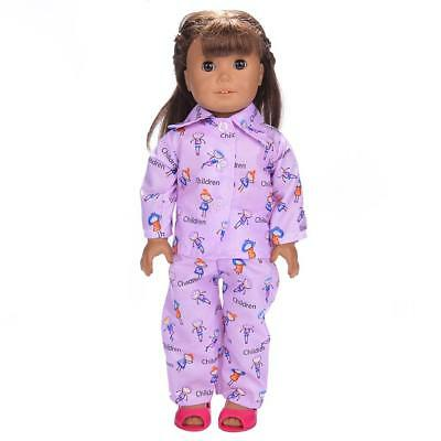 Pajamas Clothes Purple Children for 18'' American Girl Our Generation Doll