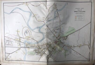 ASSABET RIVER ATLAS MAP 1906 MIDDLESEX CO MA CONCORD REFORMATORY JUNCTION STA