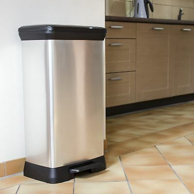 Large 50L Metal Effect Pedal Deco Bin Waste Kitchen Recycle Rubbish Trash Curver