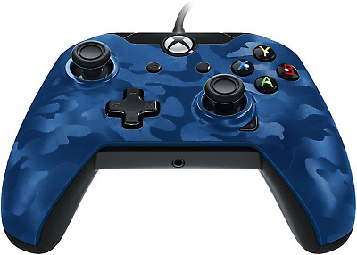 Performance Designed Products Xbox One Wired Controller Blue Camo Sleek Design