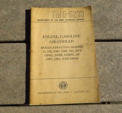 WW2 US ARMY TM 5-5233 Engine Air Cooled Gasoline Military Book