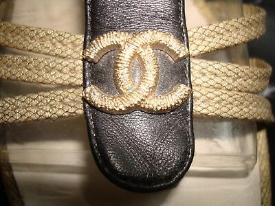Chanel Gold and Black CC Sandals SIZE 40C VGC Gladiator with buckles