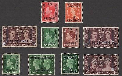 10 BRITISH MOROCCO AGENCIES All Different Stamps (C80)