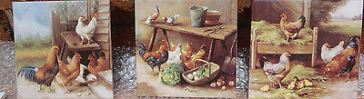3 Ceramic Waterslide Decals   FARMYARD     (Set of 3)  size:  15cm square