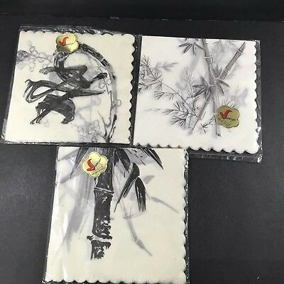 "60 Rice Paper Napkins Silk Effect Vtg Sankyo 14"" Bamboo Black Cream Decoupage"