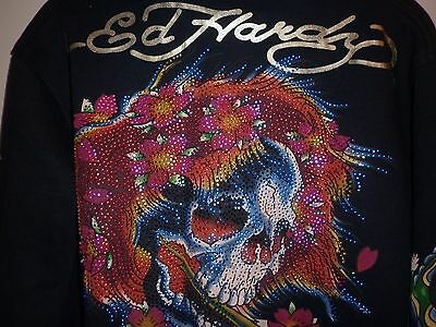 Ed Hardy Usa Black  Skull  Motif Hoodie Size L Excellent Condition