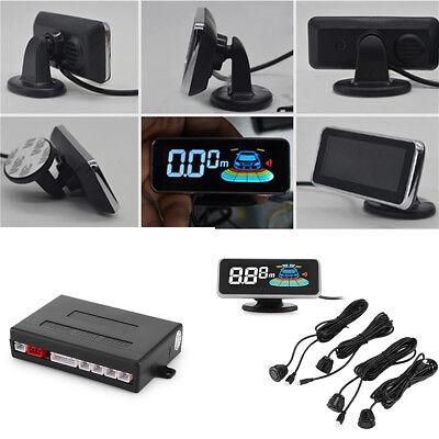 Car Parking Radar System LCD Display 4 Sensors Shock-proof Anti-freeze DC 12V