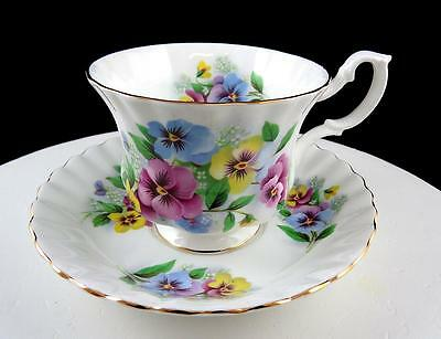 "Royal Albert #roa257 Purple Yellow & Blue Pansies 2 3/4"" Footed Cup And Saucer"