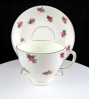 "Sampson Smith England Pink Rose Buds & Gold Rims 2 5/8"" Cup And Saucer Set"